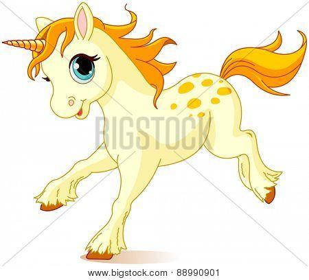 Illustration of cute running unicorn