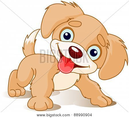 Illustration of cute playful puppy