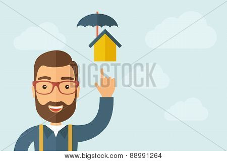 Man pointing the umbrella house icon