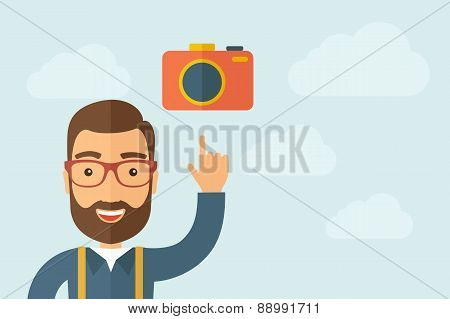 Man pointing the camera icon
