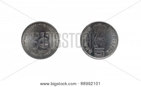 Five Indian Rupee coin ONGC 50th anniversary