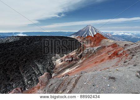 Volcanic Landscape: Active Crater Avacha Volcano. Kamchatka