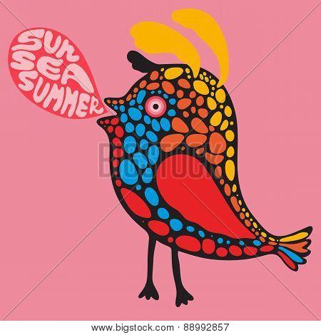 Colorful bird with sun sea summer banner.