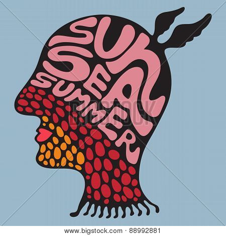 Colorful head with sun sea summer banner.