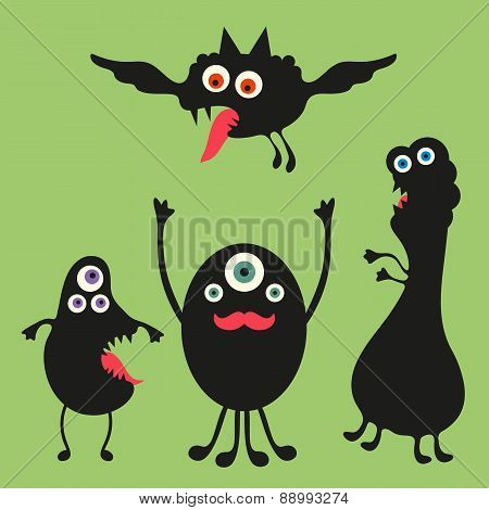Happy monsters vector illustration. Set 2