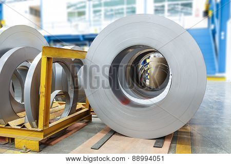 Rolls Of Metal Sheet In Factory