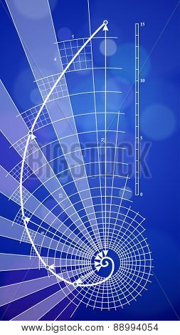Golden Ratio (Golden Proportion) & blue ecology background