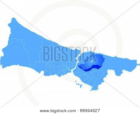 Istanbul Map With Administrative Districts Where Cekmekoy Is Pulled