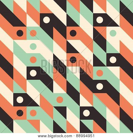 Seamless pattern with circles and rhombuses.