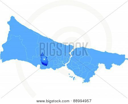 Istanbul Map With Administrative Districts Where Esenyurt Is Pulled
