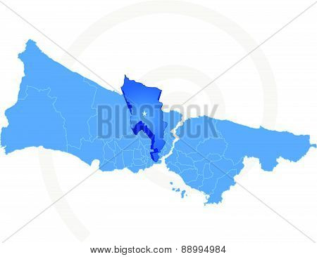 Istanbul Map With Administrative Districts Where Eyup Is Pulled