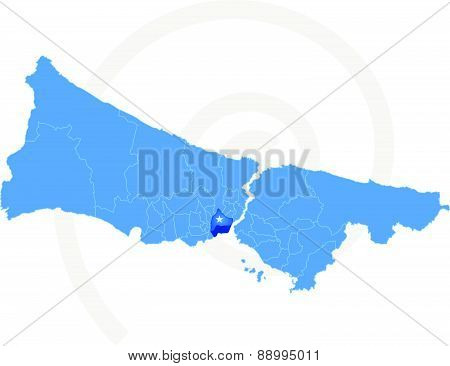 Istanbul Map With Administrative Districts Where Fatih Is Pulled