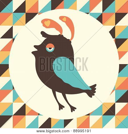 Intrigued bird with colored retro background.