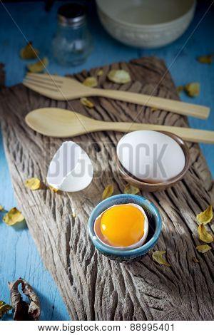 Still Life Broken White Eggs And Egg Yolk