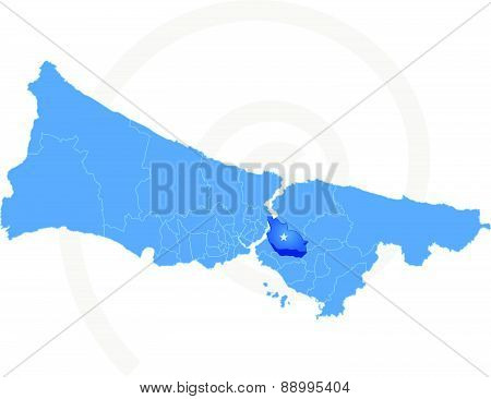 Istanbul Map With Administrative Districts Where Umraniye Is Pulled