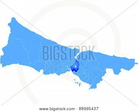 Istanbul Map With Administrative Districts Where Uskudar Is Pulled