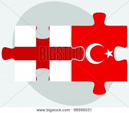 England And Turkey Flags In Puzzle