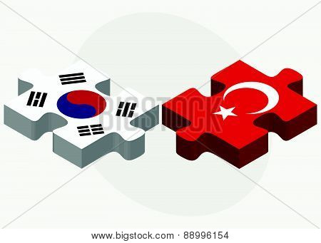 South Korea And Turkey Flags In Puzzle