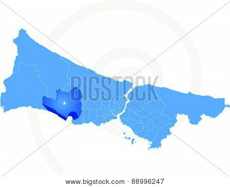 Istanbul Map With Administrative Districts Where Buyukcekmece Is Pulled