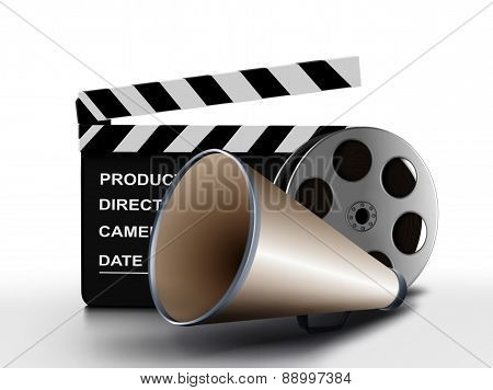 Megaphone And Film Reel With Clapper Board