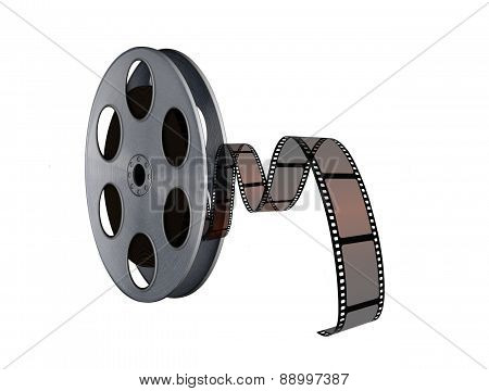 Film Reel With Twisted Cinema Tape On White