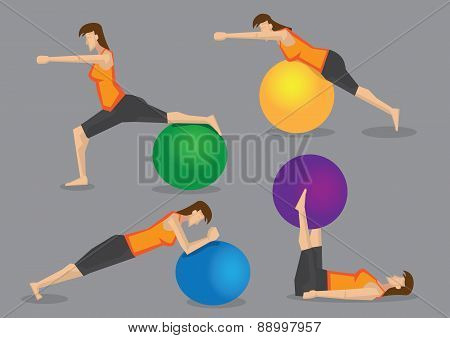Woman Fitness Exercise Workout With Gym Ball