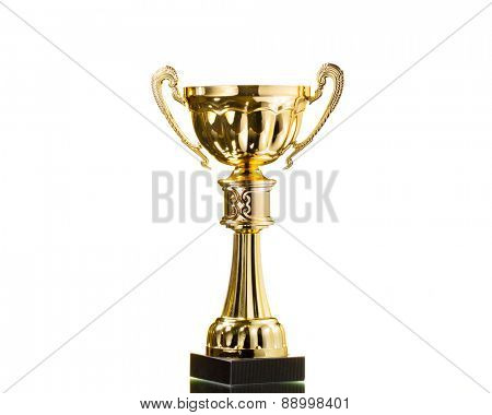 gold cup trophy isolated on white