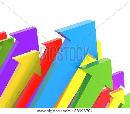 Groups of upward arrows, 3d render