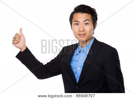 Businessman with finger thumb up gesture