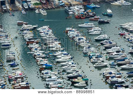 Sheltered harbour from top view