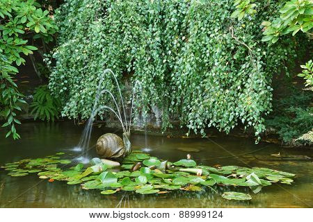 Garden Pond With A Snail Fountain
