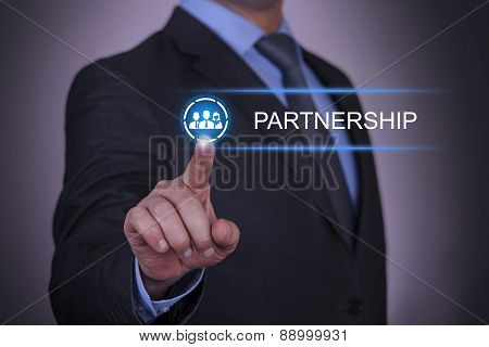 Pushing Touch Button Partnership Concept