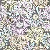 picture of gerbera daisy  - Floral seamless pattern - JPG