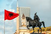 picture of albania  - Skanderbeg monument with flag - JPG