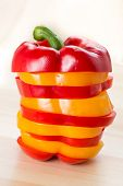 stock photo of yellow-pepper  - Red and Yellow sweet bell peppers for cook - JPG