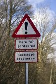 picture of landslide  - Danger signs from Denmark - JPG