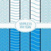 image of wavy  - Set of geometric seamless wavy lines pattern - JPG