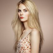 pic of blonde  - Fashion portrait of elegant woman with magnificent hair - JPG
