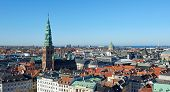 picture of copenhagen  - Copenhagen Denmark seen from above on a sunny day with blue skies - JPG