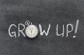 pic of slogan  - grow up slogan handwritten on chalkboard with vintage precise stopwatch used instead of O - JPG