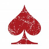 picture of spade  - Red grunge spades card logo on a white background - JPG