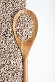 pic of roughage  - Sunflower seeds and spoon isolated on a white background - JPG