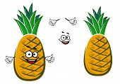 stock photo of tights  - Ripe cartoon yellow tropical pineapple fruit character with green tuft of short tight leaves on the top for healthy nutrition or dessert  design - JPG