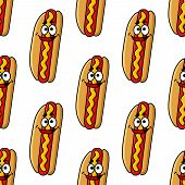 picture of sausage  - Seamless pattern of hot dog cartoon characters with beef sausage - JPG
