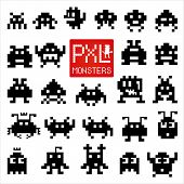 pic of monster symbol  - Set of cheerful and kind pixel monsters - JPG