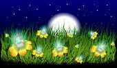 picture of moon-flower  - creative illustration of grass with flowers with the light bulb moon svetom - JPG