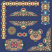 picture of divider  - set of paisley floral design elements for page decoration - JPG