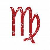 picture of virgo  - Red grunge Virgo logo on a white background - JPG