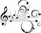 stock photo of g clef  - Treble clef with music notes - JPG