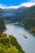 picture of fjord  - Ship in Geiranger fjord Norway  - JPG